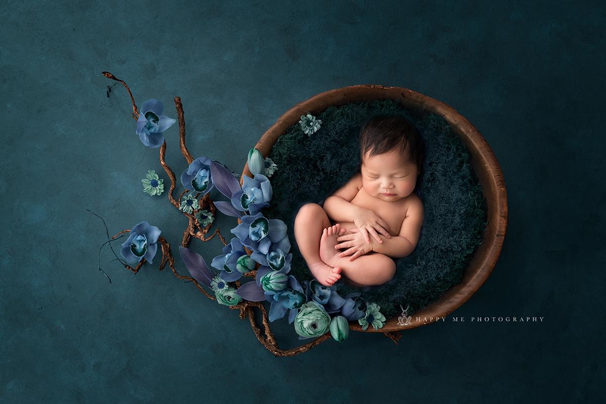 newborn photography bat area flower bowl
